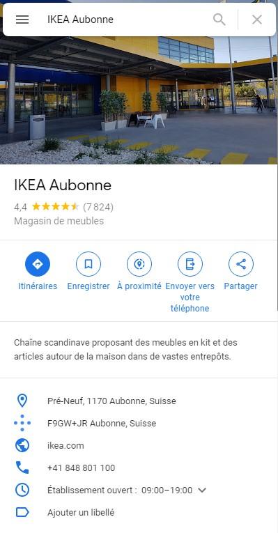Ikea Aubonne Fiche Google